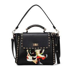 Fabra New Arrival Women Messenger Bags Print Girl Small Shoulder Crossbody Bag Rivet Black Handbag Fashion Tote Bag 29*9*24 Cm #Affiliate
