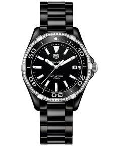 Tag Heuer Women's Swiss Aquaracer Diamond (1/4 ct. t.w.) Black Ceramic Bracelet Watch 35mm WAY1395.BH0716