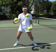 Tennis themed entertainer for hire, perfect for Wimbledon themed events, sports themed events and Tennis themed events. London and the UK