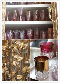 gorgeous pink and gold glassware from #http://www.bountifulhome.com in Venice, CA via 100 Layer cake