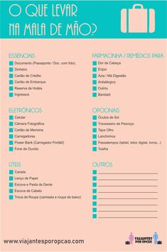 Um Check List de Viagem para te dar mais tranquilidade antes de fazer as malas. No link tem um PDF para você baixar e usar nas suas viagens. Packing List For Travel, Travel Checklist, Travelling Tips, Travel Planner, Travel Essentials, Travel Tips, Travel Destinations, Europa Tour, Brazil Travel