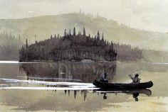1895 Winslow Homer (American; 1836-1910) ~'Two Men in a Canoe'