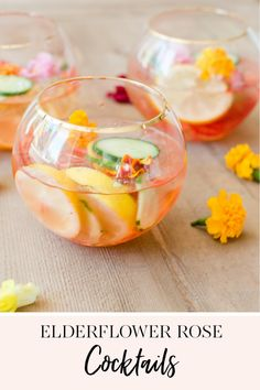 I'm always thinking of simple ideas to make entertaining a little less intimidating.  These Elderflower Rose cocktails are so pretty and simple to pull together for last minute get togethers. || JennyCookies.com