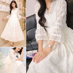 Women Full Crochet Lace 3/4 Flare Sleeve V-Neck White Party Ball Gown Maxi Dress #Unbranded #BallGown #Formal