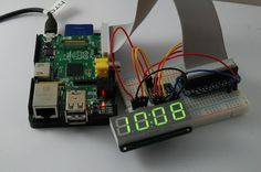Okay, so if you were going to make a simple LED 4 digit clock, you probably wouldn& start with a Raspberry Pi. But I wanted to test o. Diy Projects Gadgets, Led Projects, Science Projects, Science Ideas, Diy Electronics, Electronics Projects, Arduino, Electronic Workbench, Computer Projects