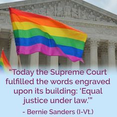 "#LoveWins Supreme Court fulfills true equality in ruling ""Equal Justice Under Law"" on marriage equality!"