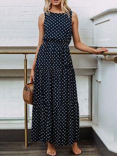 Dark Blue Cotton Polka Dot Print Sleeveless Chic Women Maxi Dress
