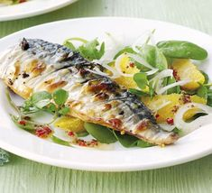 Grilled mackerel with orange, chilli & watercress salad - Yummy, easy and healthy Watercress Salad, Tomato Salad, Fish Recipes, Seafood Recipes, Salad Recipes, Fish Dishes, Seafood Dishes, Watercress Recipes, Salads