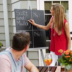 Create a chalkboard and DIY easel perfect for scorekeeping party games.