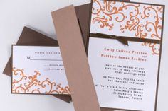 I love the scroll type design on this invite