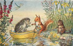 Medici Postcard Pk 352 Anthropomorphic Animals Trip on the River by Molly Brett Art And Illustration, Hedgehog Illustration, Beatrix Potter, Animal Painter, National Animal, Woodland Creatures, Woodland Animals, Pet Birds, Vintage Art