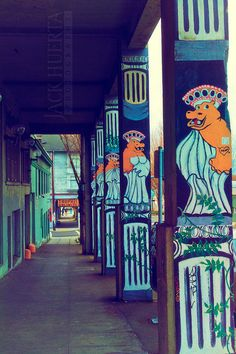 Portland Photography - 8x12 Photograph - Hippo Hardware Building - Hippo Painting, Portland, Oregon, Roman Hippos, Yellow Orange