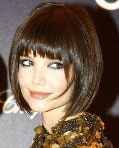 short straight angled bob hairstyle with bangs