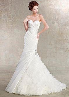 ALLURING TAFFETA ORGANZA MERMAID SWEETHEART NECKLINE NATURAL WAISTLINE WEDDING DRESS