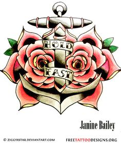 Anchor and roses tattoo design