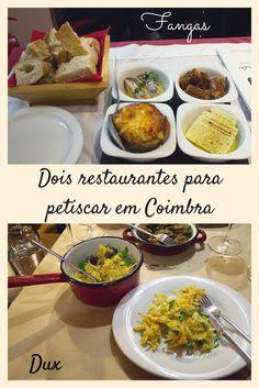 O Fangas Mercearia & Bar e o Dux Vinhos e Petiscos são duas ótimas opções de restaurante em Coimbra, Portugal