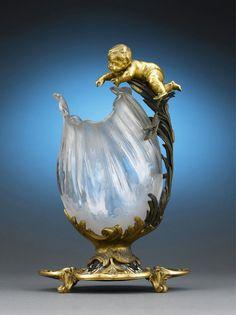 Baccarat Ormolu, Champleve and Cut Glass Vase Circa 1870