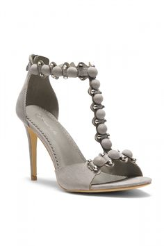 f81ab5028c HerStyle Women's Manmade Santinna Faux Suede Bullet and Button Accent Ankle  T-Strap Stiletto Heel (Grey)