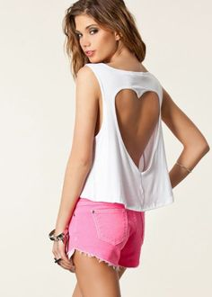 White Sleeveless Heart Cut T-Shirt pictures
