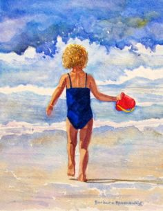 Surf Girl, Watercolor Painting Art Print, Ocean Beach Seashore OOAK Reproduction of Original, Barbara Rosenzweig, Etsy. $34.00, via Etsy.