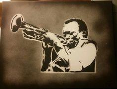 Miles Davis spraypaint stencil work