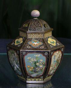 Rare Form Japanese Cloisonne Enamel Jar  - Meiji Era