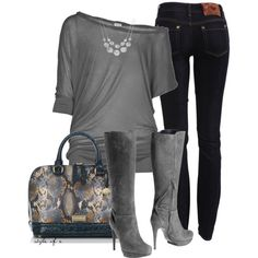 """Gray Boots and Snakeskin Bag"" by styleofe on Polyvore"