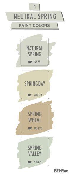 Spring isn't just a season for pastels. This neutral spring paint color palette from Behr Paint shows you how to redesign your home in a brand new way. Get inspired for your next DIY home makeover project. Click below to learn more. Farmhouse Paint Colors, Paint Colors For Home, Bedroom Wall Colors, Room Colors, Paint Combinations, Behr Paint, Paint Color Palettes, Paint Swatches, Exterior House Colors