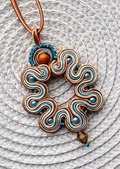 Soutache Pendant Necklace in Turquoise Toffee and by AnetteArt, £18.00