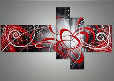 handpainted 5 piece red modern abstract oil by GlobalArtwork
