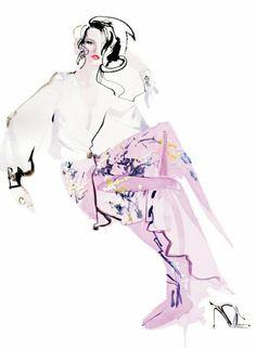 David Downton illustration.