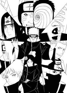 Check out this awesome 'Akatsuki' design on Naruto Shippuden Sasuke, Itachi Uchiha, Anime Naruto, Naruto Art, Boruto, Akatsuki, Pain Naruto, Art Inspiration Drawing, Naruto Series
