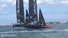 Artemis Racing and ORACLE TEAM USA line up in practice racing