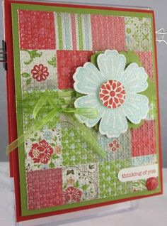 I love quilted cards.  Flower from Mixed Bunch.  Easy elegance paper. From splitcoaststampers Carol Payne