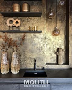 Kitchen Cupboards, New Kitchen, Concrete Kitchen, Wabi Sabi, Textures Patterns, Floating Shelves, Architecture Design, Sweet Home, New Homes