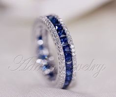 Vintage Sterling Silver Sapphire Three Row Eternity Band Ring Estate Jewelry 925