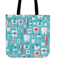Dentist Pattern Linen Tote