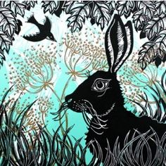 Hare In The Cow Parsley Greeting Card by Kerry Tremlett