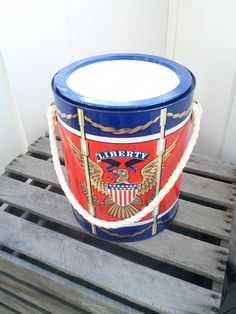 Vintage 1967 Prestige Product Liberty Eagle Metal Drum Bucket / Ice Bucket / Container / Flower Herb Pot / Paint Can Style Bucket / Decor by JulesCristenVintage on Etsy