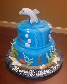 Dolphin Sea Birthday cake  (Dolphin is a little disproportionate, but cute idea!)