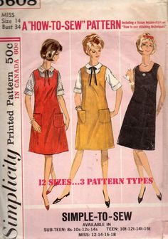 Simplicity 8339 1960s Misses Day Evening U Neck Dress Jumper and Blouse womens vintage sewing pattern by mbchills