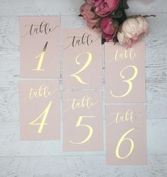 Add a little shine to your tables with these gorgeous blush and gold foil table numbers! ✨ Gold Foil table numbers (single sided) - Each card is heat foiled with gold foil on Light Pink / Blush card stock, measuring 6 tall x 4 wide. Each table number is printed on light pink / blush, 110lb card stock. These are single sided- but available for double siding for an additional $1/card. If you require a different quantity than whats listed, please send me a customized request. N...
