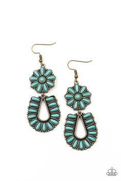 Badlands Eden - Brass Horseshoe Earrings, Fish Hook Earrings, Blue Earrings, Turquoise Earrings, Drop Earrings, Dangly Earrings, Feather Earrings, Rhinestone Earrings, Chandelier Earrings