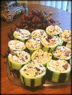 CUCUMBER CUPS -  The site did not have the recipe but, I would like to make some sort of ranch dressing filling with a cherry tomato. I might even line the inside with lettuce.
