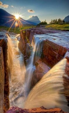~ Gorgeous Beauty of Sunset at Triple Falls , Glacier National Park,…