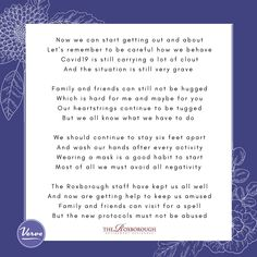 RELAXING OF PROTOCOLS - Poem from the Roxborough Retirement Residence in Newmarket 😊 #vervecares #poem #staysafe #community Maybe For You, Senior Living Communities, Wellness Activities, Above And Beyond, Retirement, Poems, Community, Poetry, Retirement Age