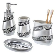 Amazon.com: Creative Scents Bathroom Accessories set, 4-Piece Mosaic Glass Luxury Bathroom Gift Set, Includes Soap Dispenser, Toothbrush Holder, Tumbler & Soap Dish – Finished in Stunning Silver: Home & Kitchen