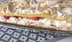 Denna härliga tårta har många namn - Brittatårta, pinocchiotårta och herrgårdstårta är några av dom. En härlig kombo av sockerkaka och maräng och så grädde och jordgubbar förståss ;)