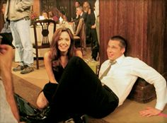 behind the scenes of mr and mrs smith Angelina And Brad Pitt, Brad And Angie, Brad Pitt And Angelina Jolie, Jolie Pitt, Classic Movie Quotes, Por Tras Das Cameras, Mr And Mrs Smith, Famous Couples, Romance