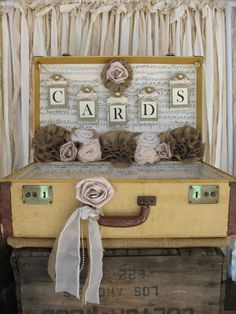 Instead of sheet music I will decorate the back with vintage valentine's day cards I found :)  Vintage Suitcase Wedding Card Holder Shabby Chic Wedding Rustic Country Wedding